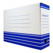 Короб архивный из гофрокартона 100мм (327*100*240) Koroboff белый синий рисунок