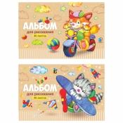 """Альбом для рисования 40л., А4, на скрепке ArtSpace """"Веселые мультяшки"""" А40_20249"""