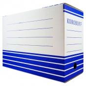 Короб архивный из гофрокартона 150мм (327*150*240) Koroboff белый синий рисунок